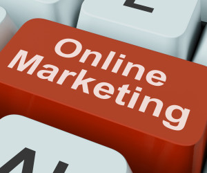 Online Marketing Key Showing Web Emarketing And Sales
